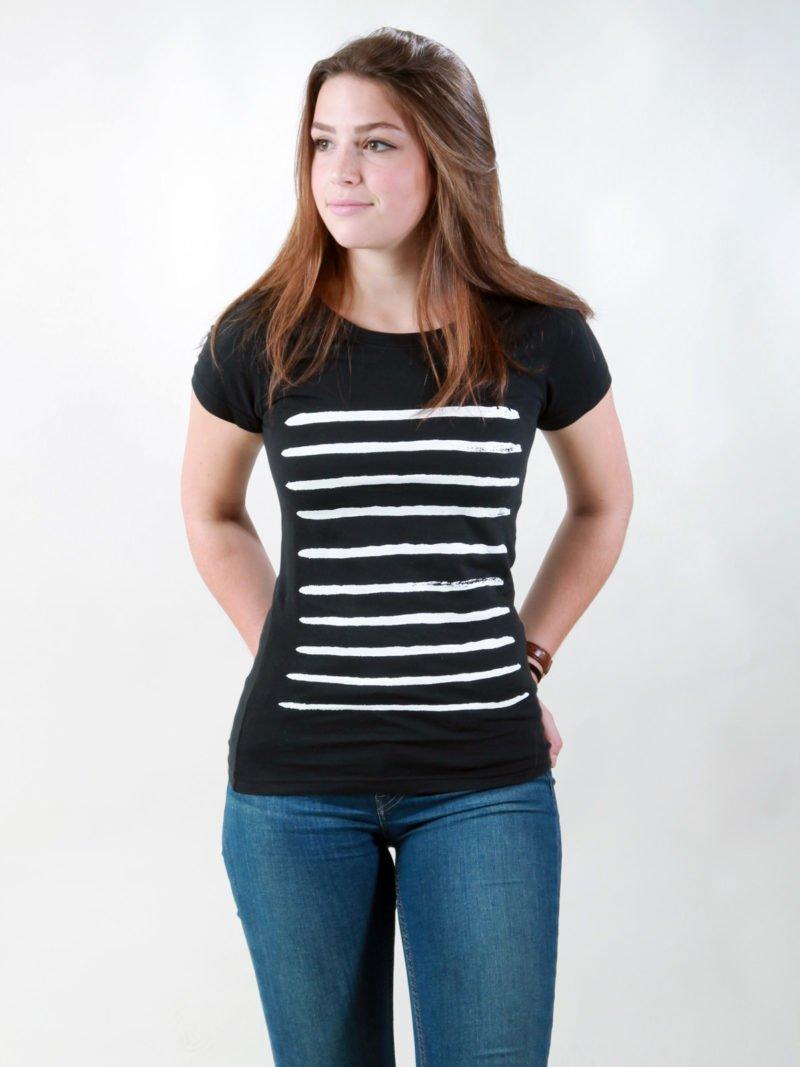 T-Shirt Damen Small Stripes black