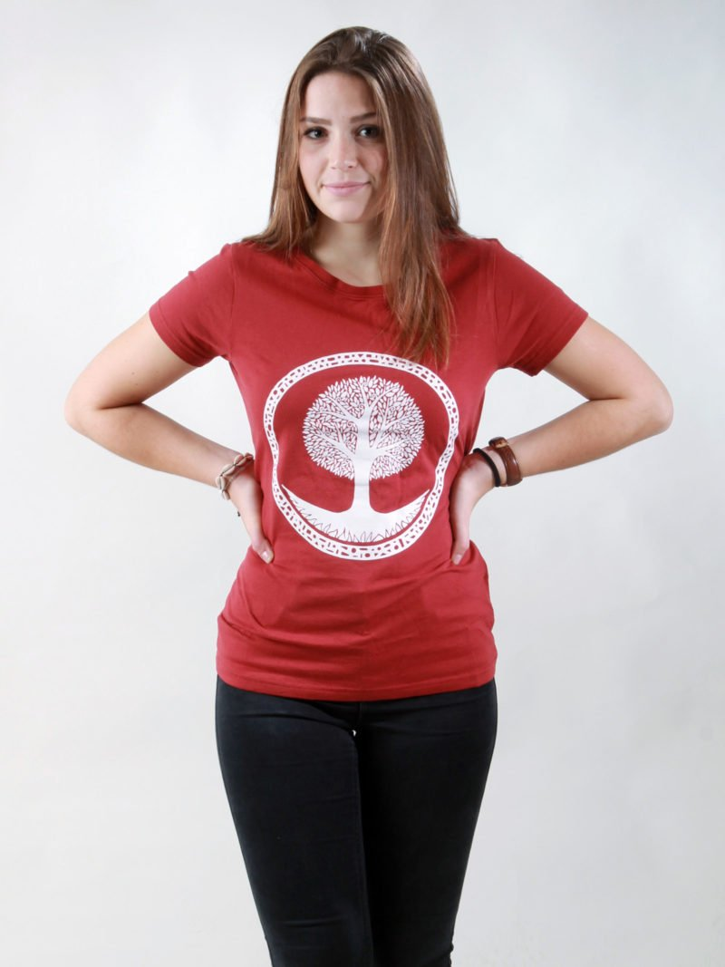T-Shirt Damen Tree burning red
