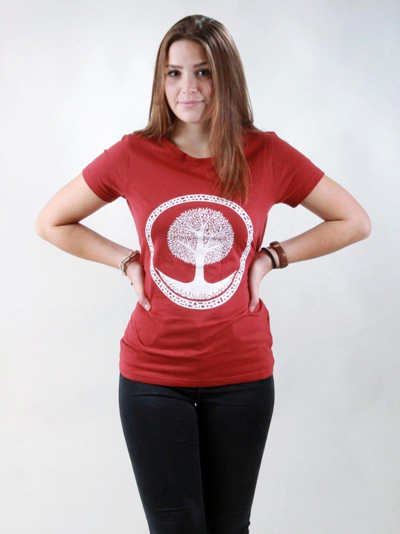 T-Shirt Damen Tree burning red