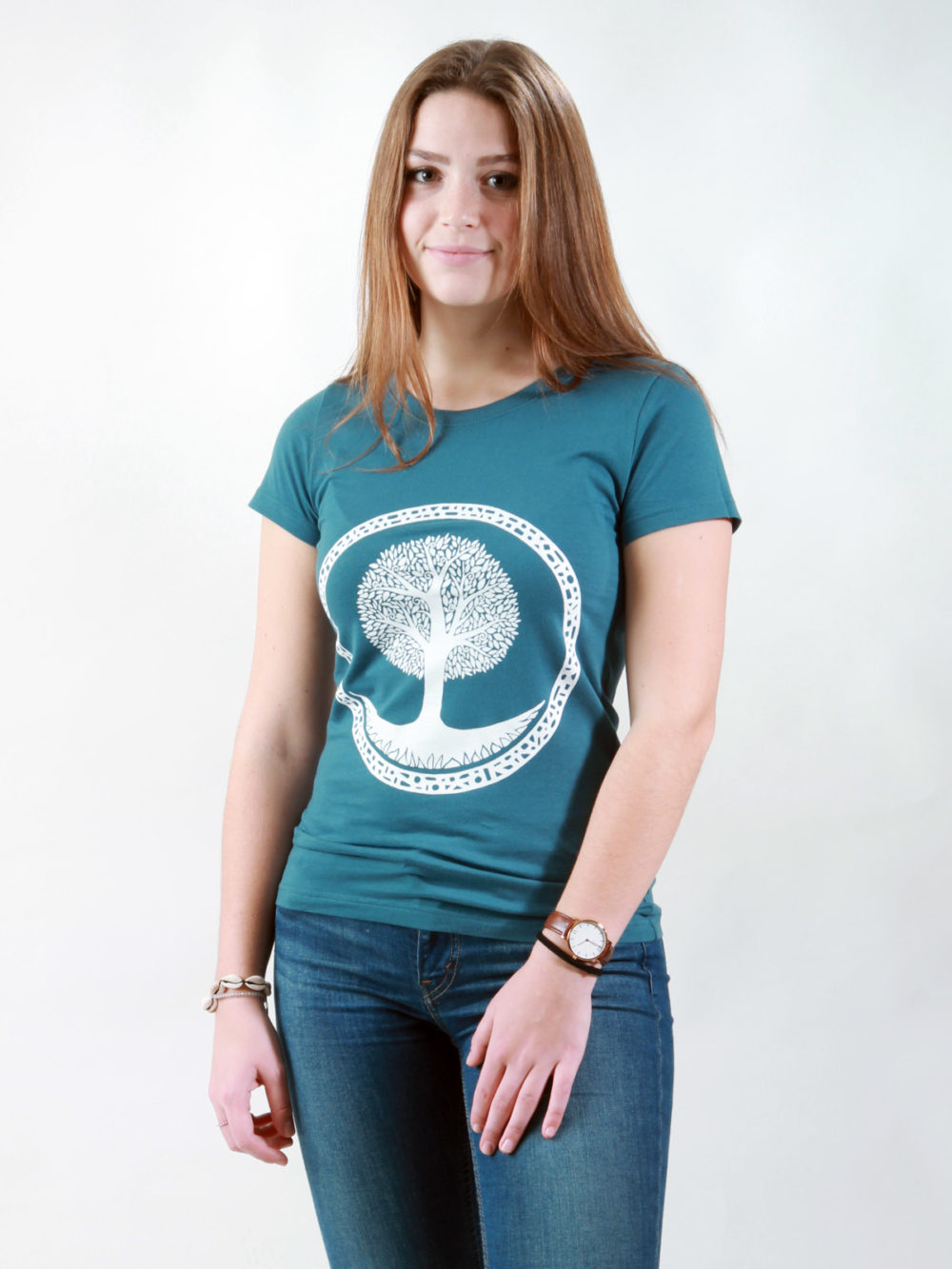 T-Shirt Damen Tree deep teal