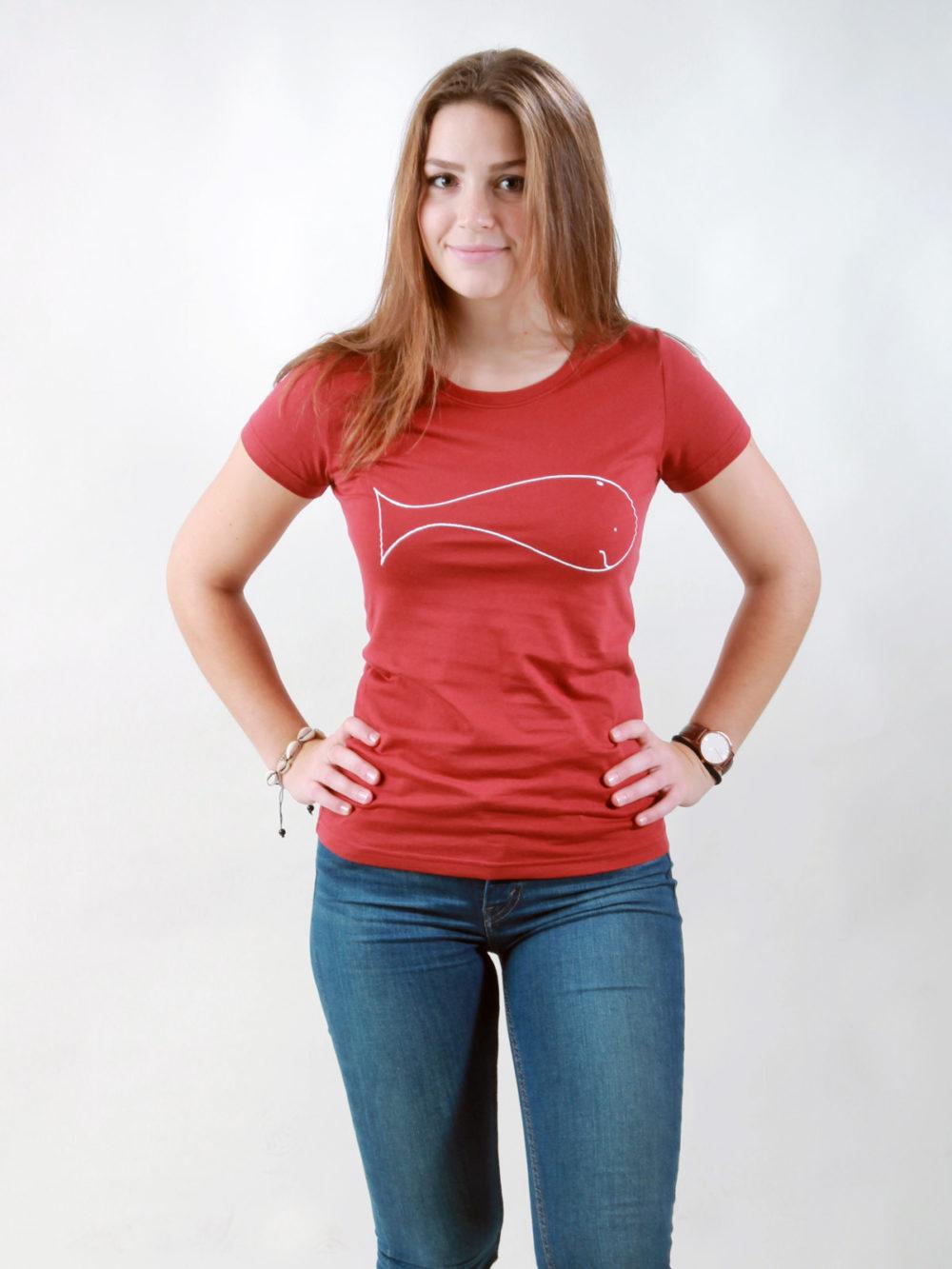 T-Shirt Damen Whale burning red