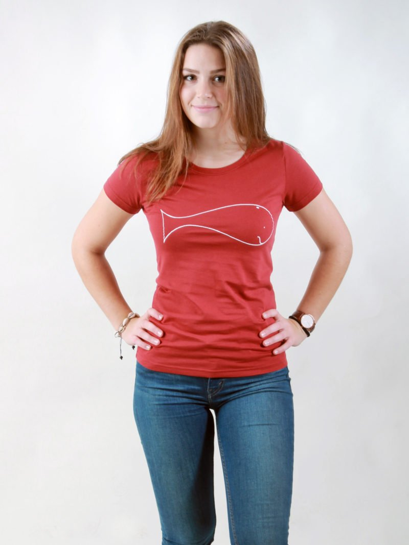 T-Shirt Damen Whale burning red