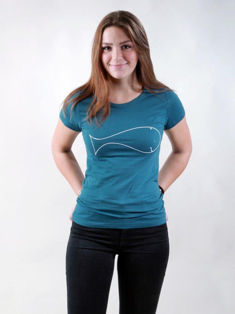 T-Shirt Damen Whale deep teal fair
