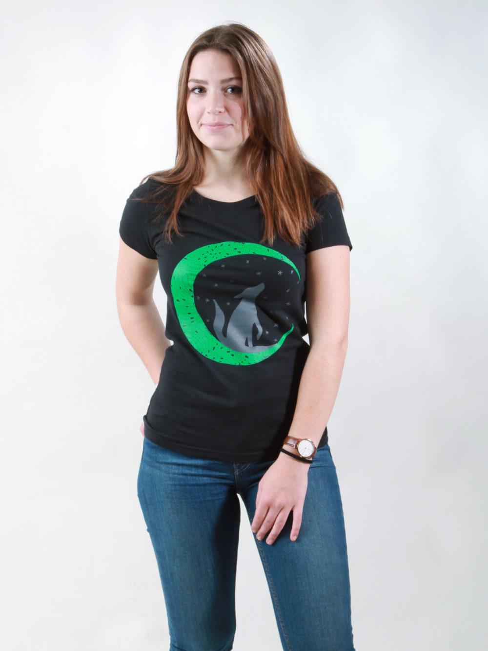 T-Shirt Damen Wolf black