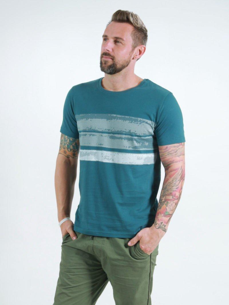 T-Shirt Man Big Stripes deep teal
