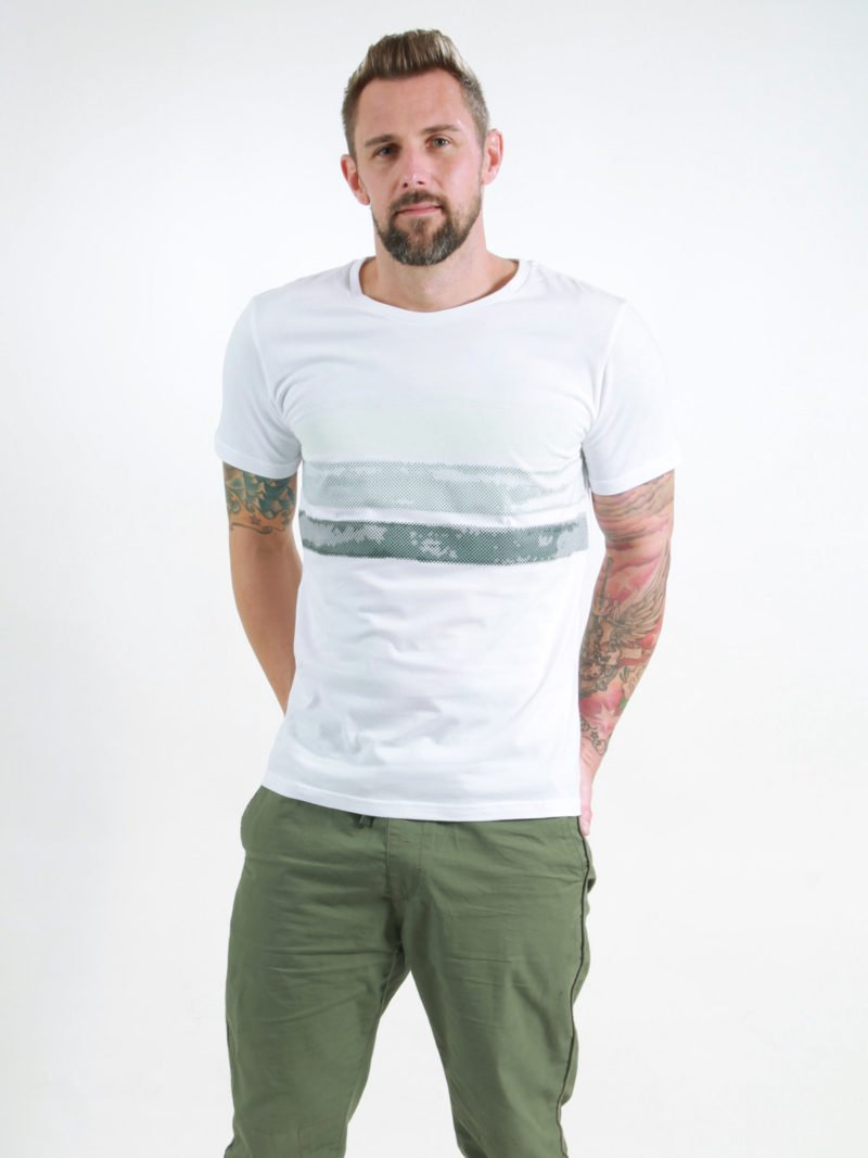 T-Shirt Man Big Stripes white