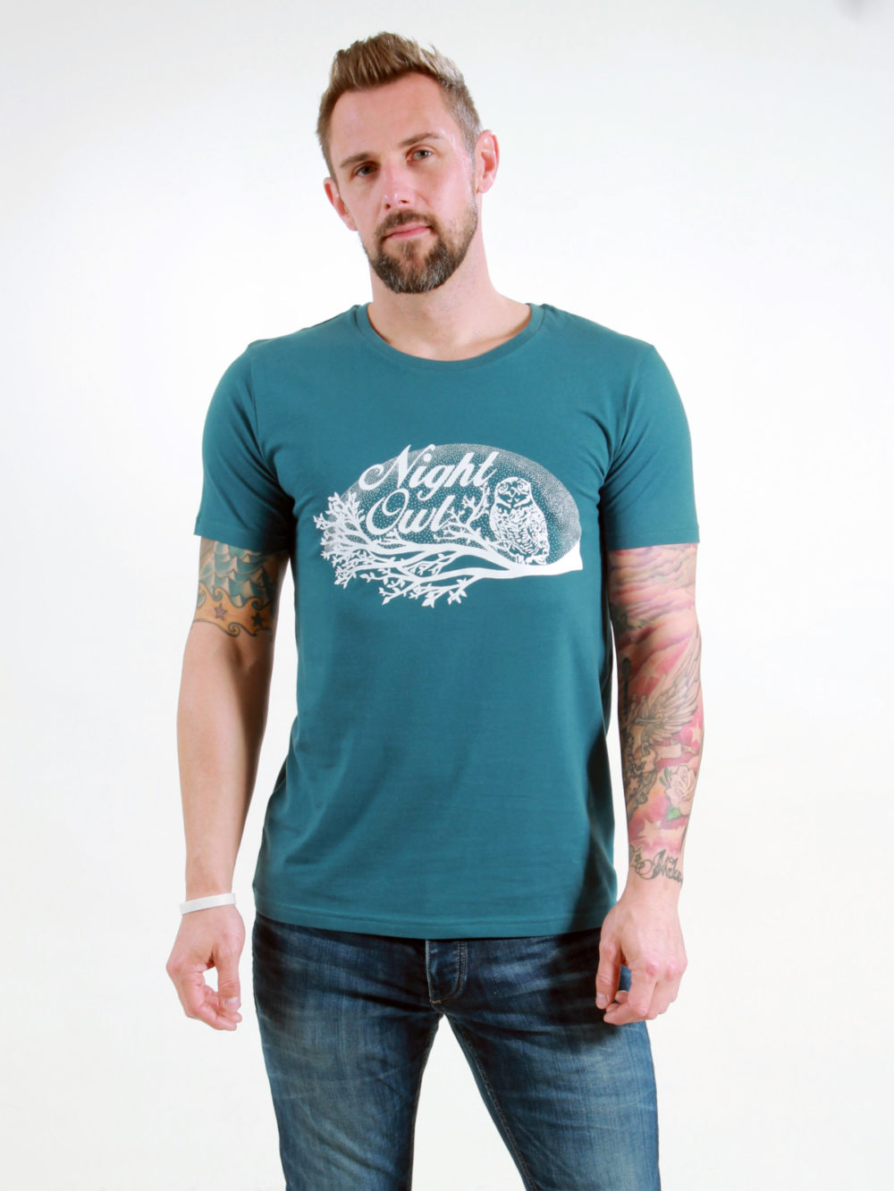 T-Shirt Man Night Owl deep teal