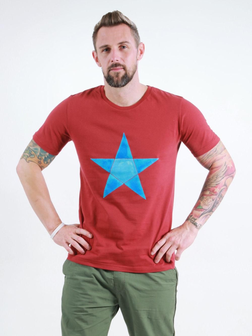T-Shirt Man Origami Star burning red