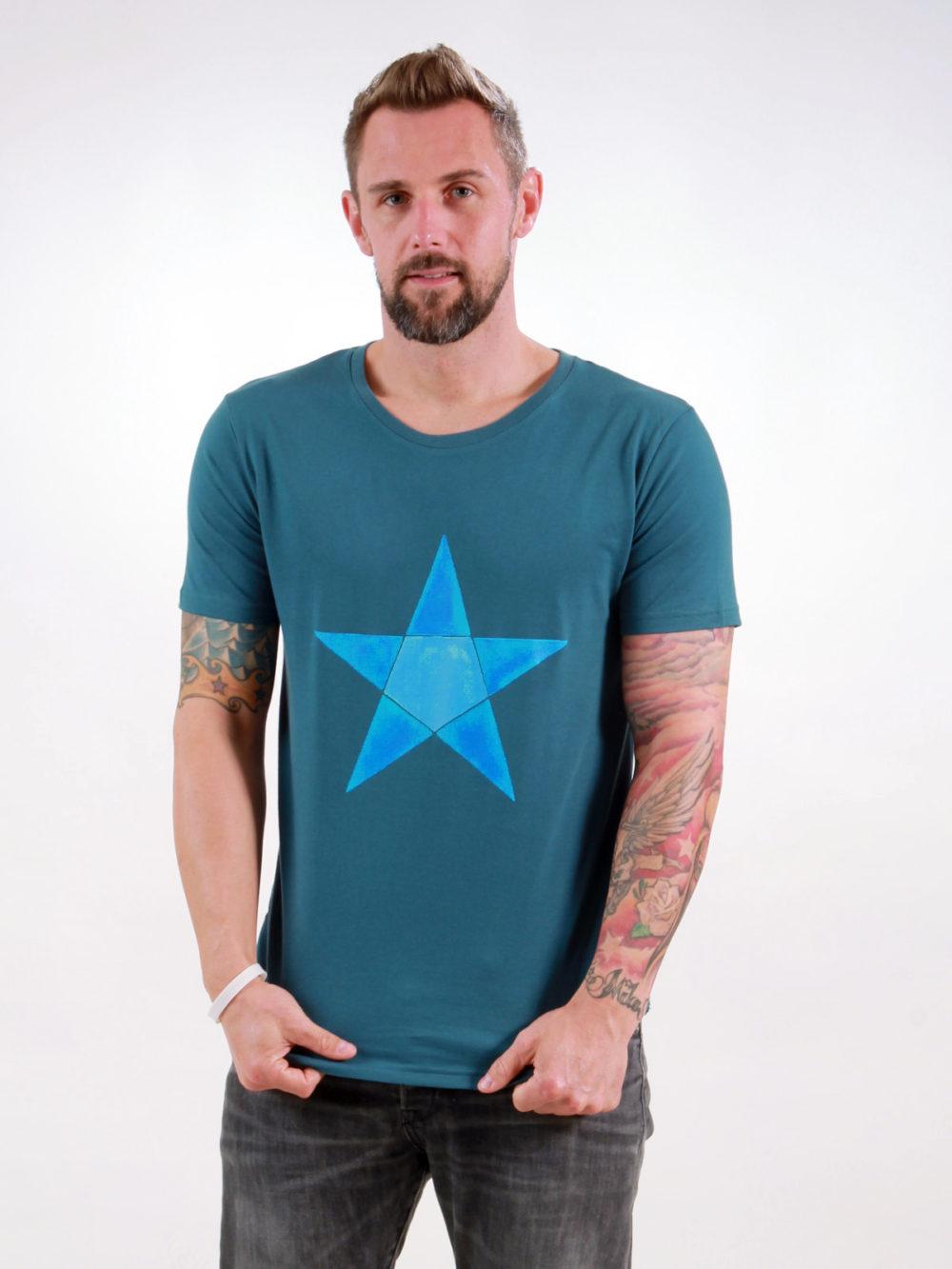 T-Shirt Man Origami Star deep teal