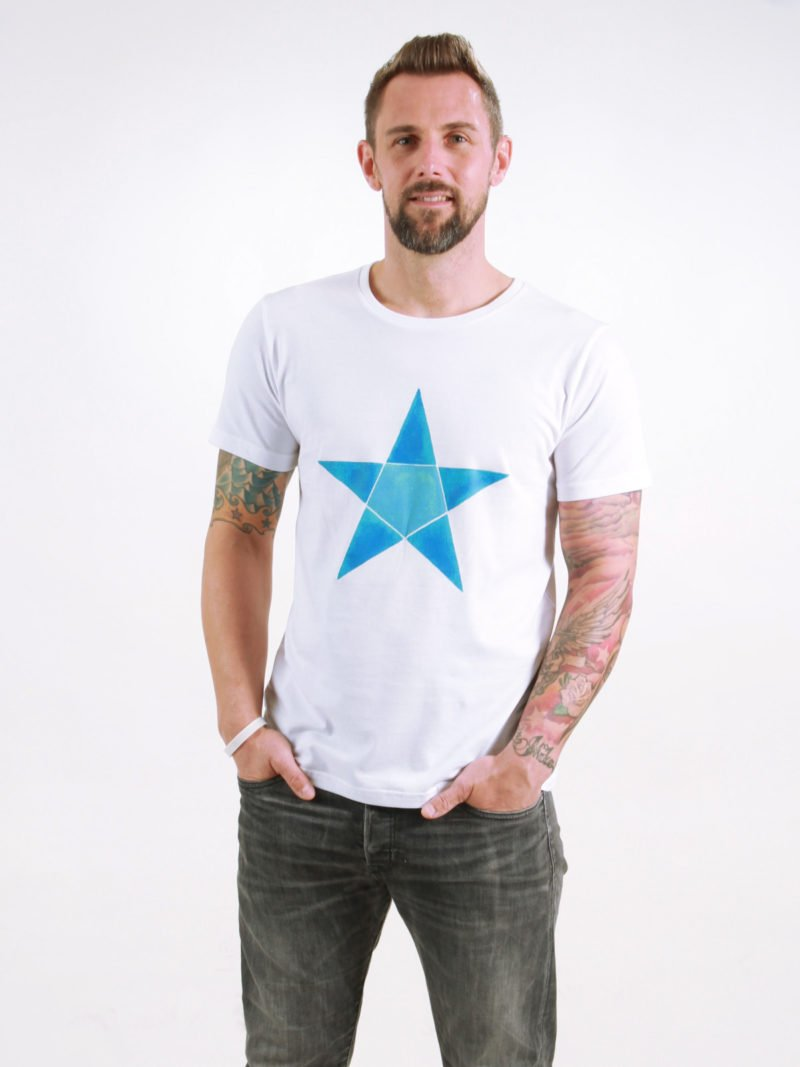 T-Shirt Man Origami Star white