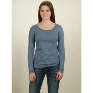 basic longsleeve damen smoke blue