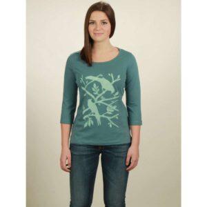 3/4 longsleeve damen birds light turquoise