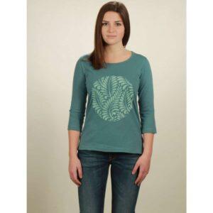 3/4 longsleeve damen leaves light turquoise