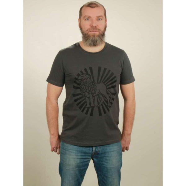 t-shirt herren lion sun dark grey