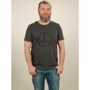 t-shirt herren peace dark grey