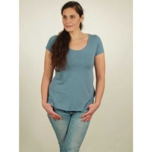slub shirt damen light blue