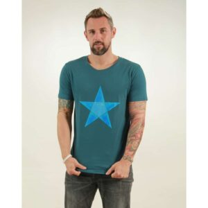 t-shirt herren origami star teal