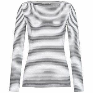 Longsleeve Damen - Stripes - white-navy
