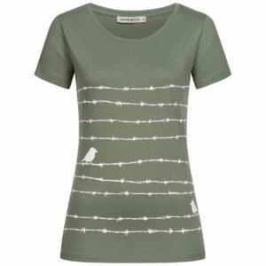 T-Shirt Damen - Barbwire - moss green