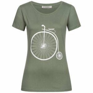 T-Shirt Damen - Retro Bike - moss green