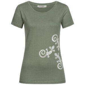 T-Shirt Damen - Three Gecko - moss green