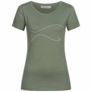 T-Shirt Damen - Whale - moss green