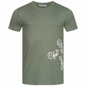 T-Shirt Herren - Three Gecko - moss green